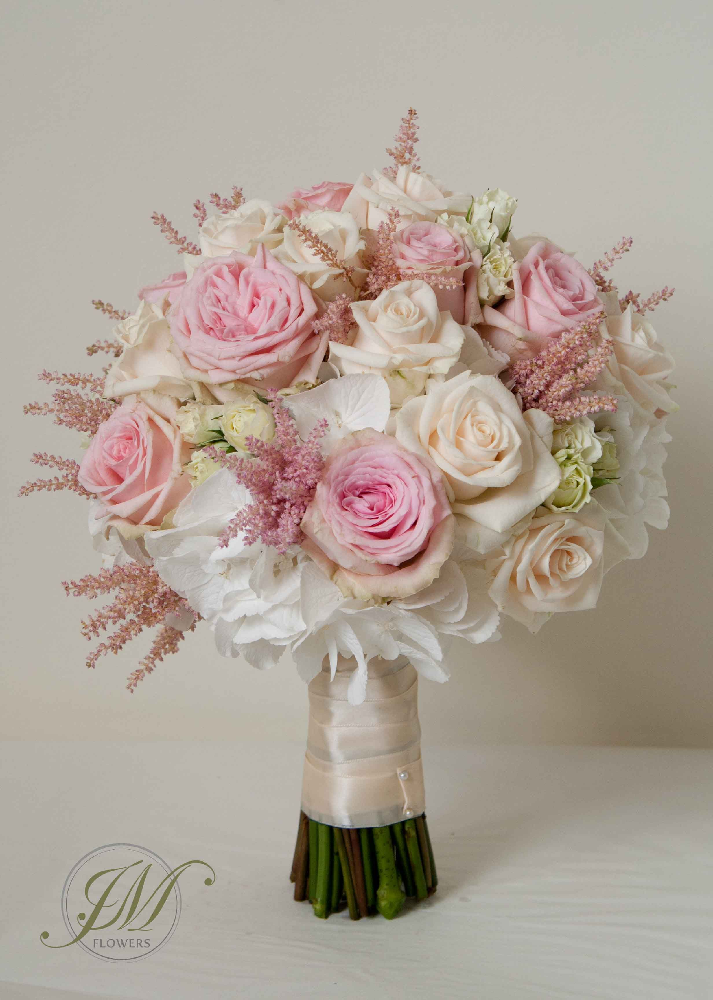 White Pale Pink And Cream Bridal Bouquet Made Of Pink Roses Cream