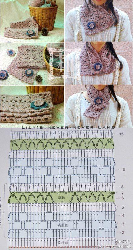 Patron Crochet Cuello.Bufanda - Patrones Crochet . stitch crochet ...