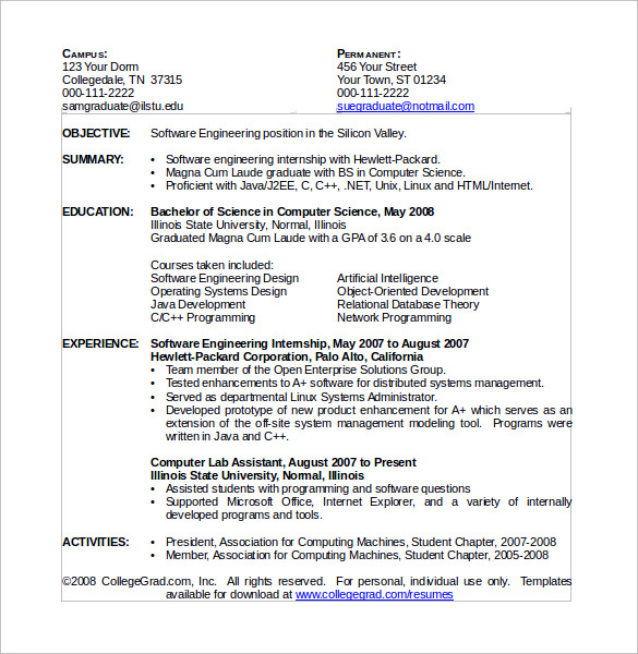 Resume Templates Computer Science 2 Templates Example Templates Example Resume Template Word Free Online Resume Templates Online Resume Template