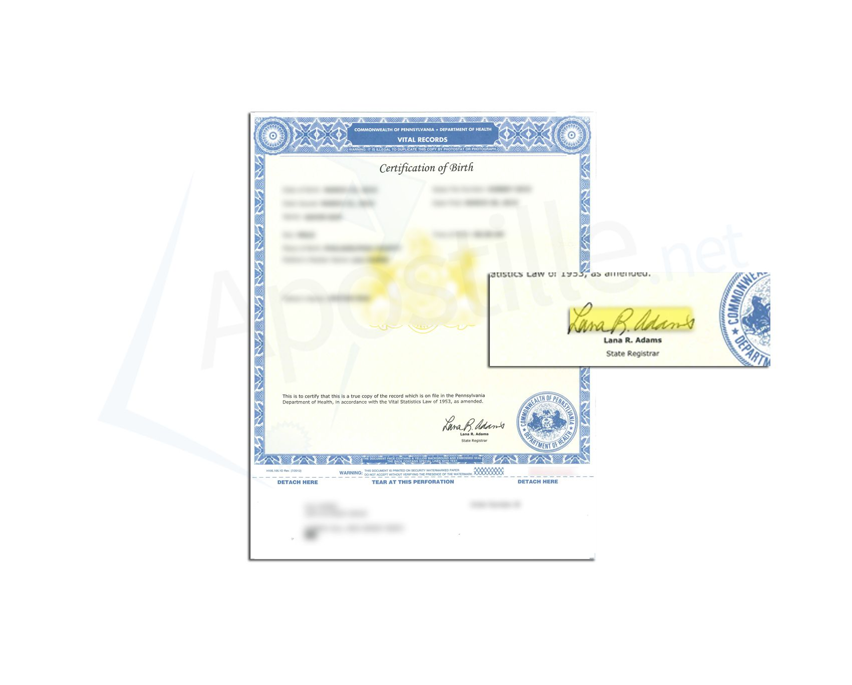 State Of Pennsylvania Certification Of Birth Issued By Lana R Adams