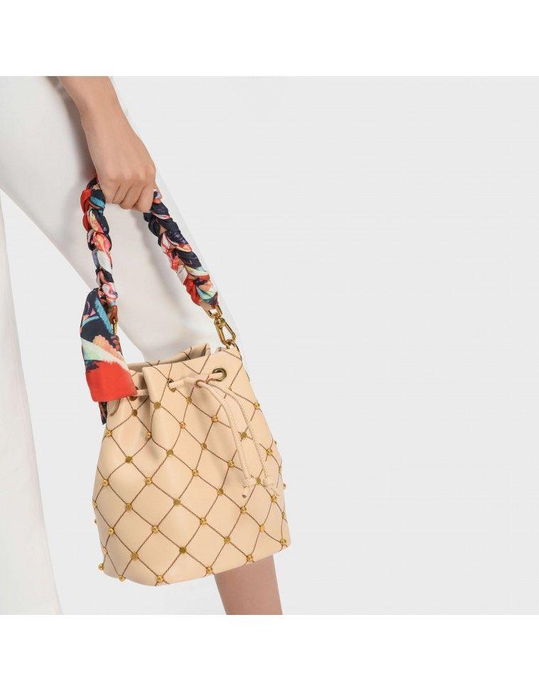 f38d89f07002 Beige Embellished Quilted Drawstring Bucket Bag