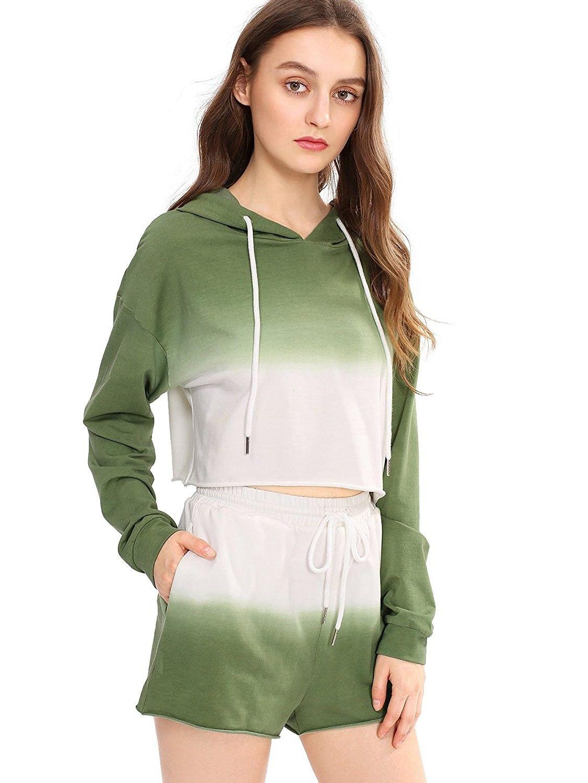 Women s Women s 2 Piece Outfit Crop Top Hoodies Shorts Set Tracksuit ... b66a15807