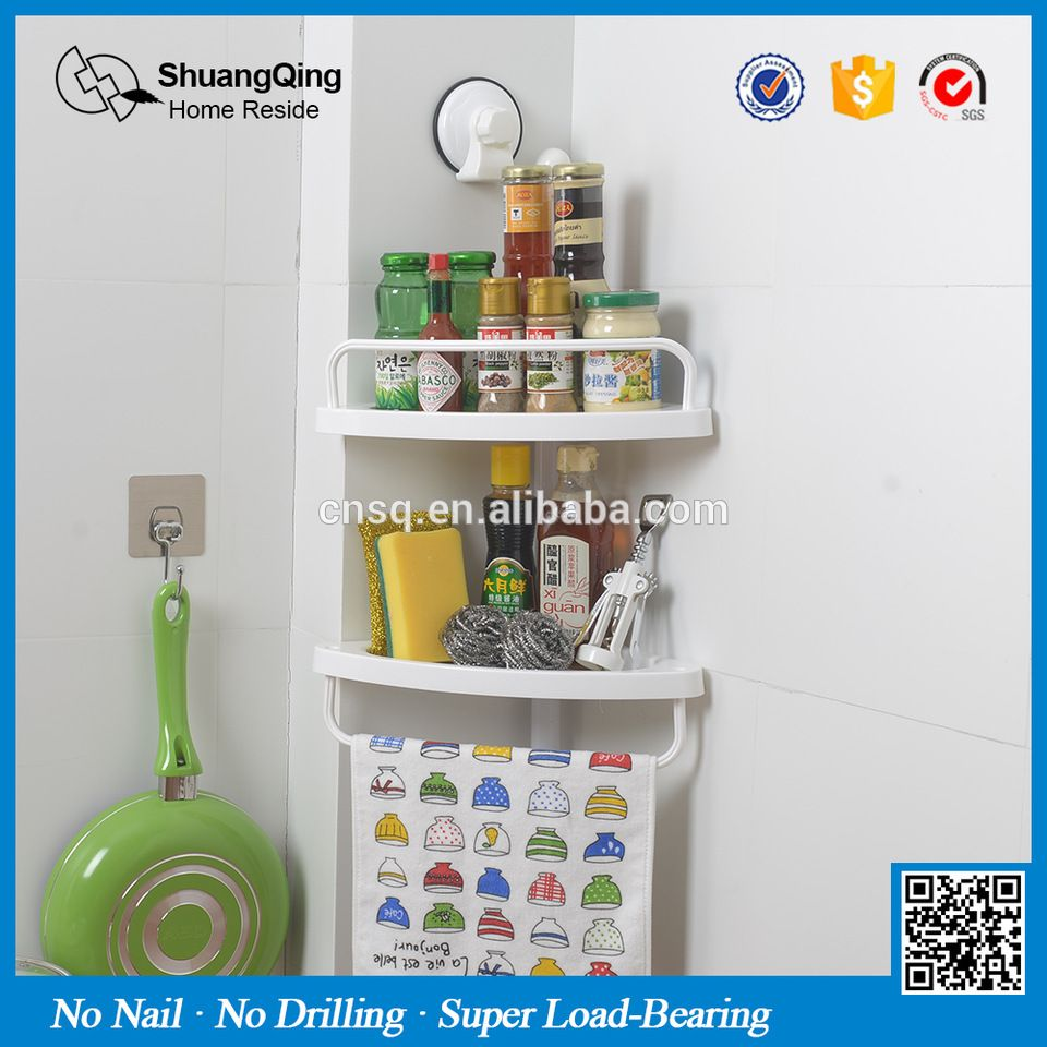 1907 Sq Suction Cup Wall Mounted Magic Corner Shower Shelf For