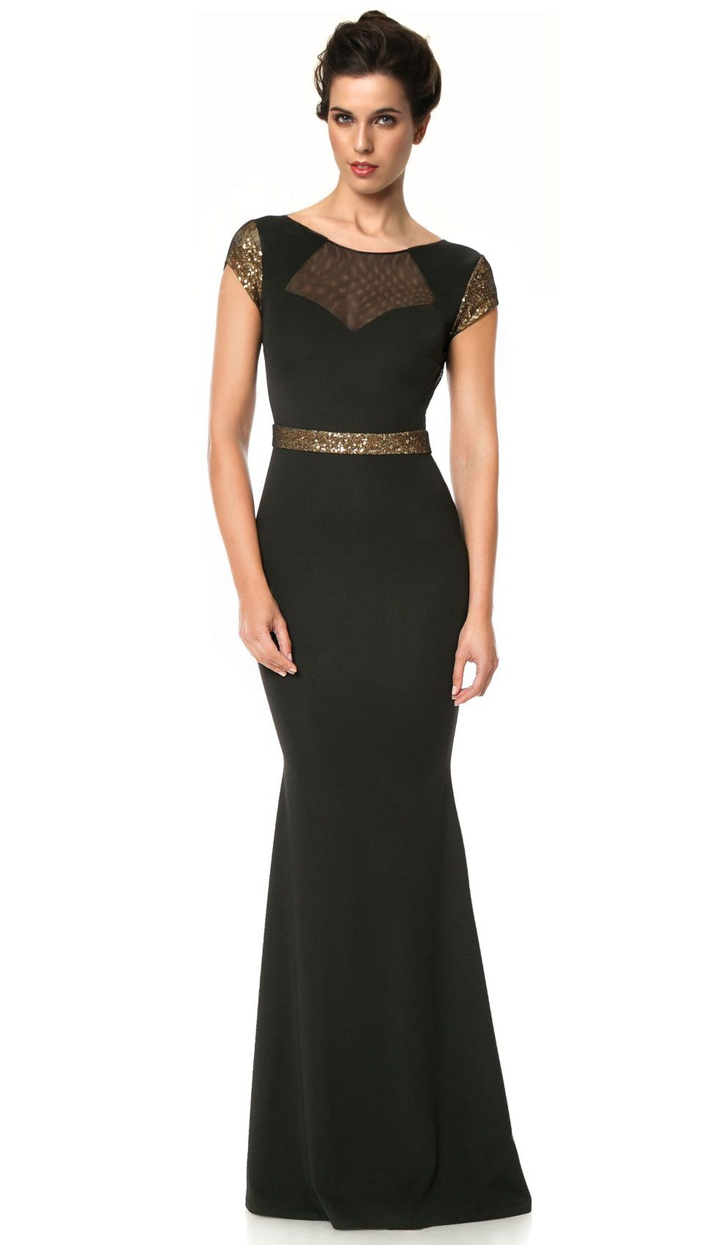 Black sequinembellished gown cristallini hire dresses long