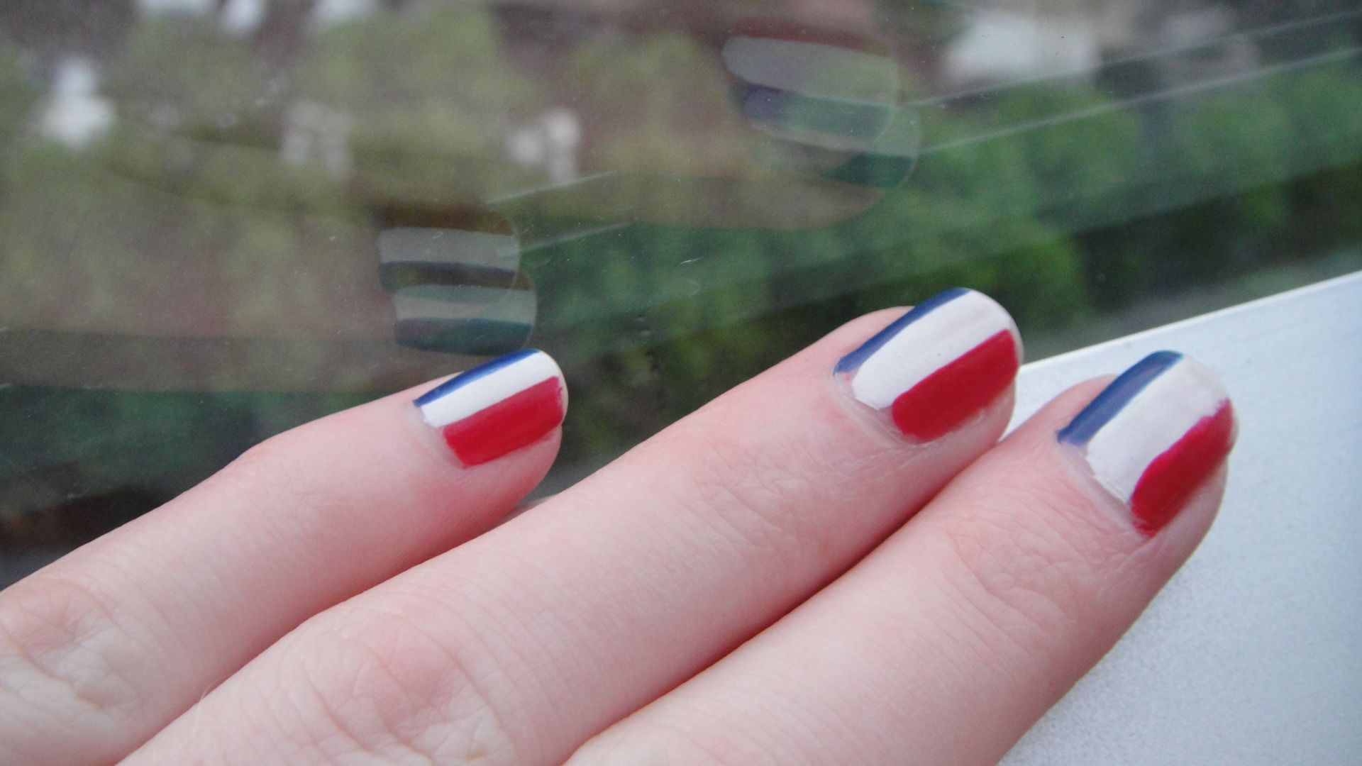 France Flag Nail Design Strips Of Blue White And Red Nails