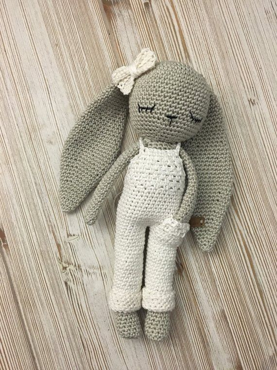 Crochet longear bunny with salopette trousers and bow tie,crochet toy,baby bunny newborn toy, doll with trousers,newborn birth gift, newborn #dollcare