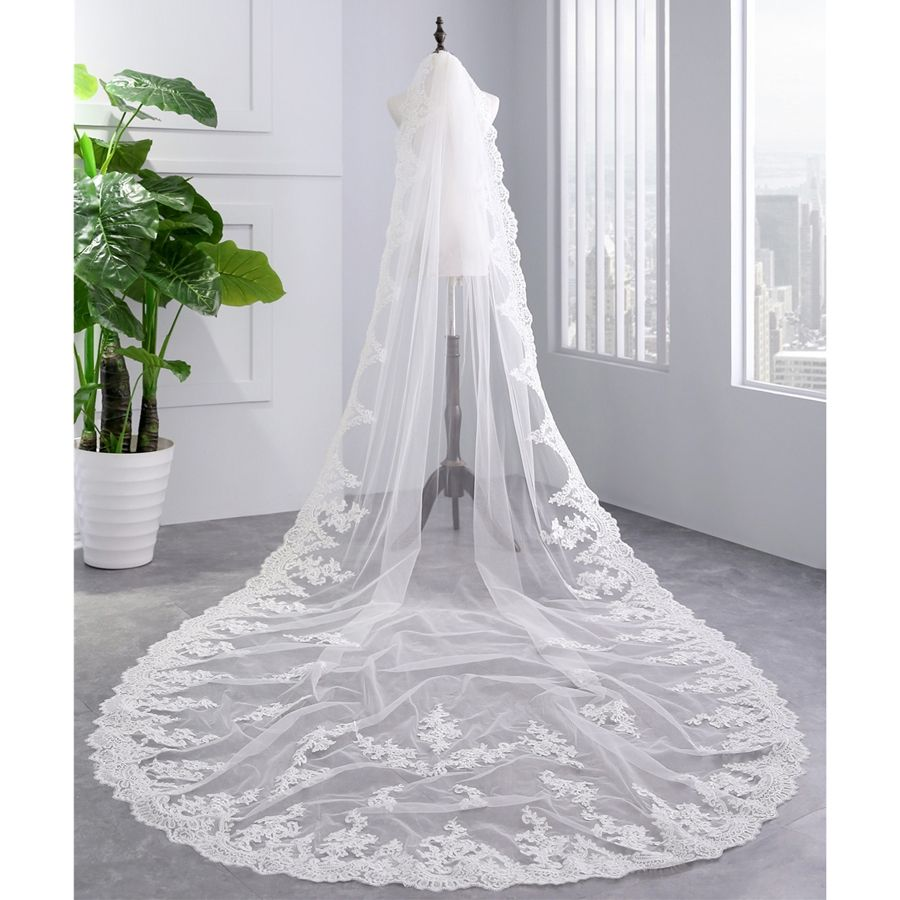 Cathedral wedding dress   new arrive Appliqued white ivory sexy bridal veil one layer