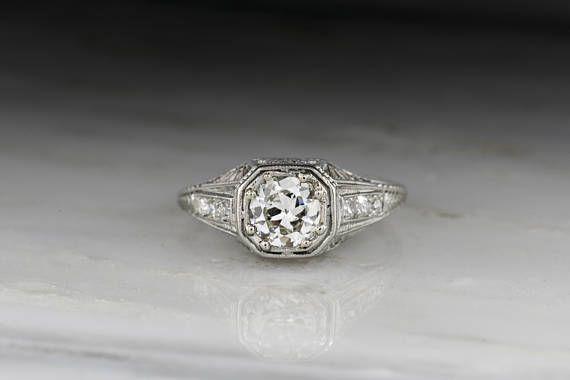 d6b654aa4 antique vintage engagement ring Art Deco Edwardian Retro filigree Old  European Cut diamond hexagon flowers sunset engraving wheat women's jewelry  ornate ...