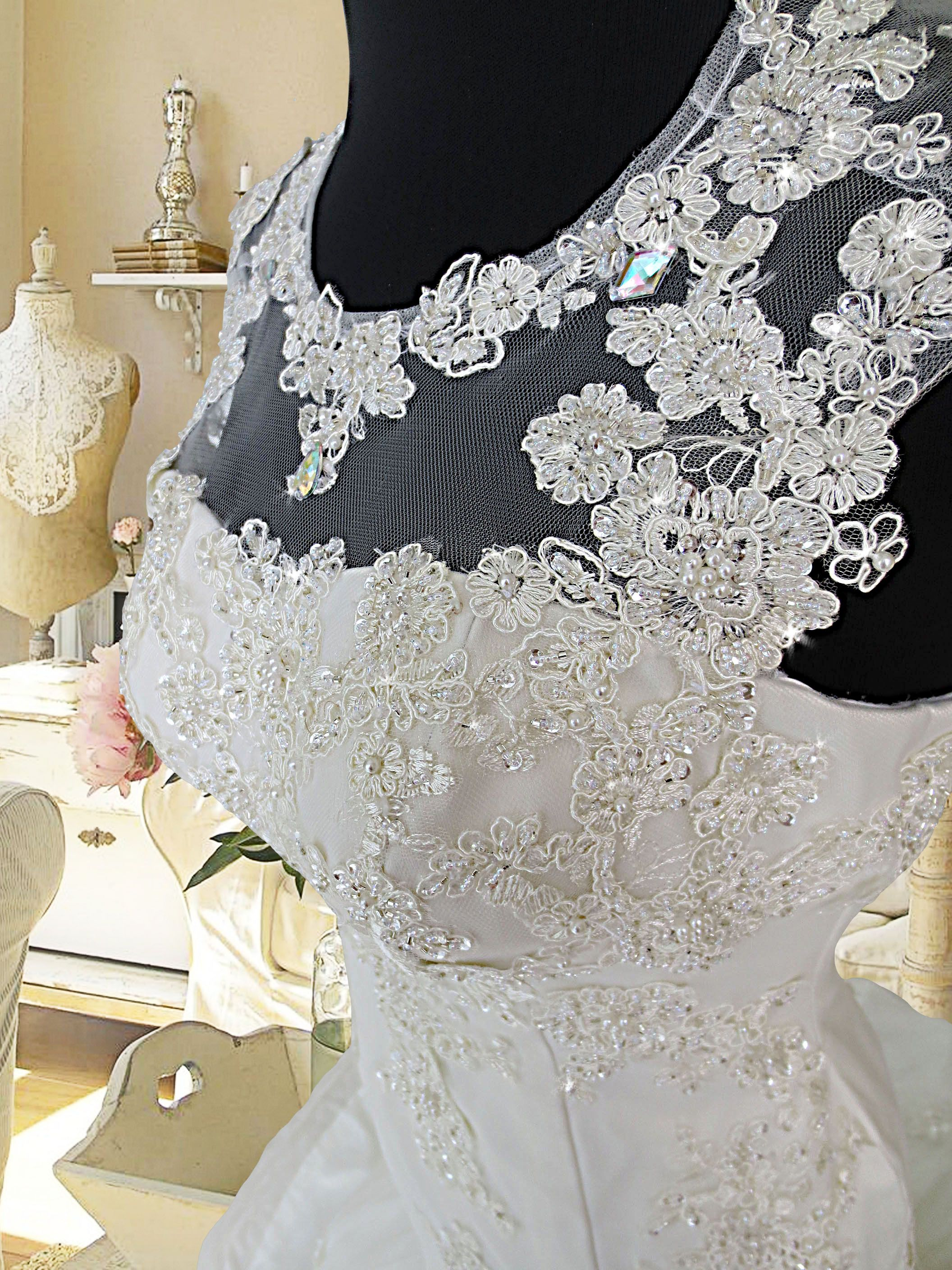 Popular wedding gown with lace applique and beadwork Php rental gownforent