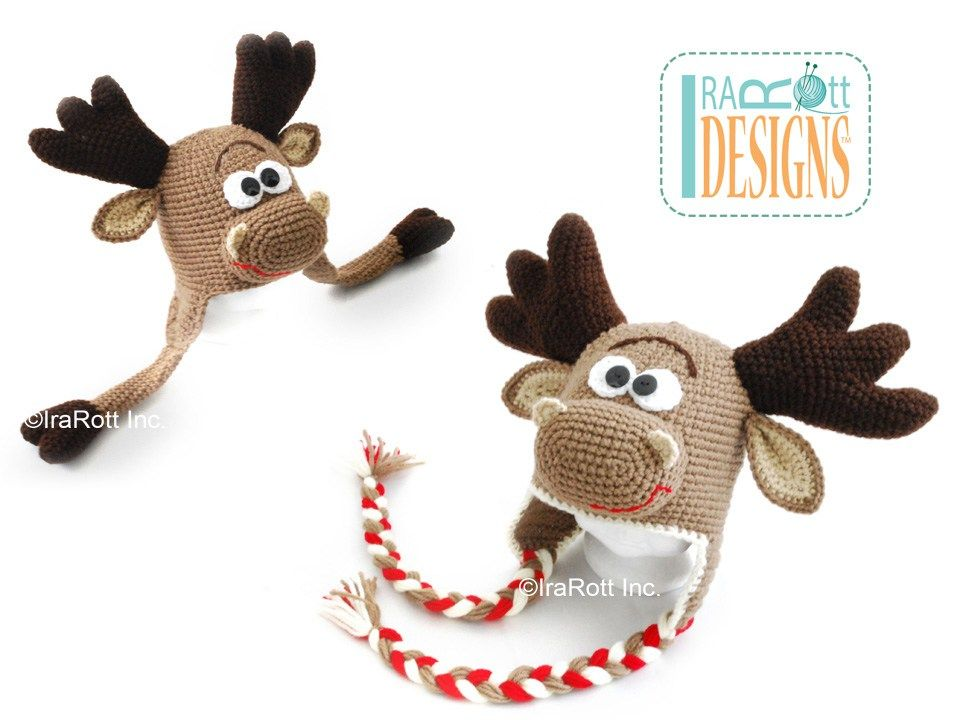 Moose Animal Hat Crochet Pattern for boys and girls of all ages by ...