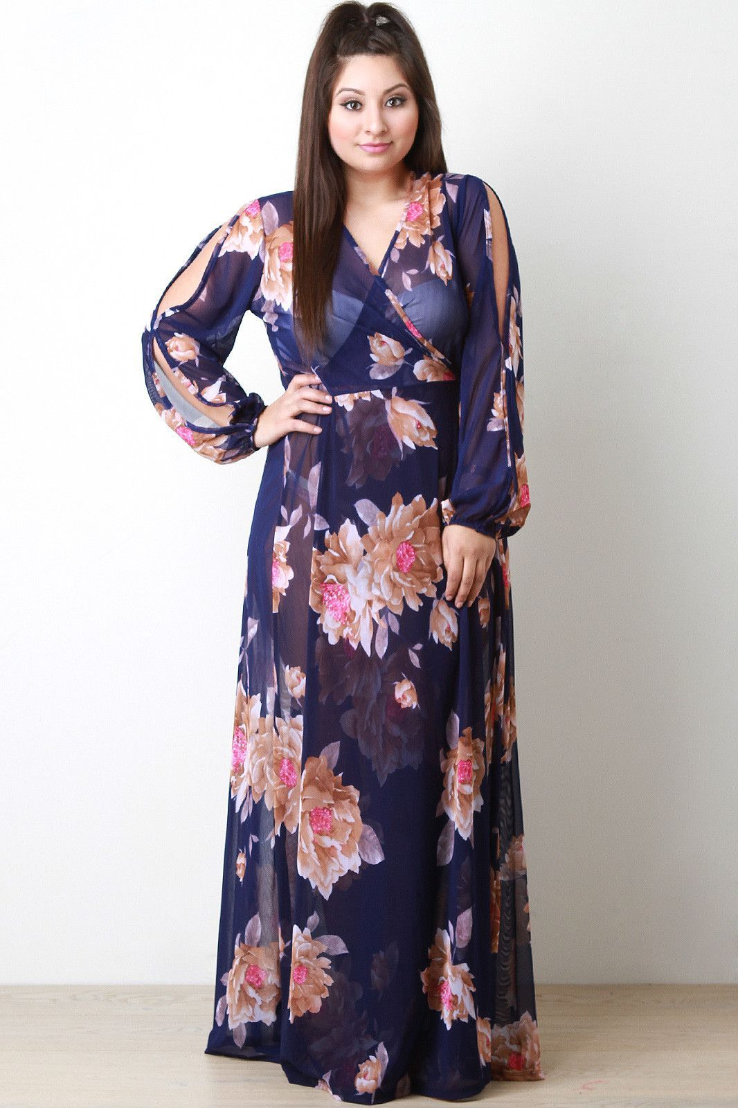 Semi-Sheer Floral Wrap Maxi Dress | Maxi wrap dress, Dresses ...