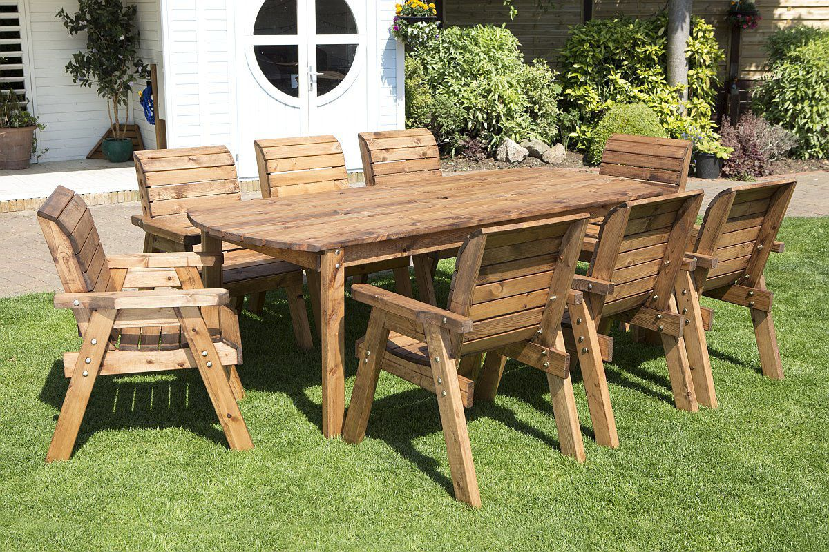 Wooden Garden Table And 8 Chairs Dining Set Wooden Garden Table Garden Table Garden Furniture Sets