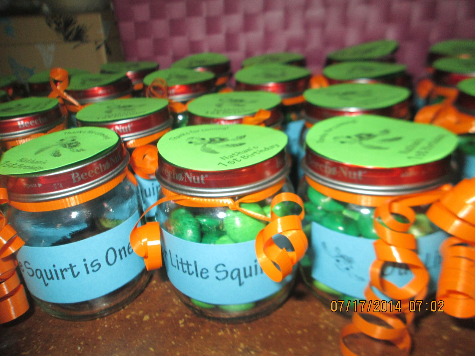 Baby Food Jar Party Favors With Squirt From Finding Nemo