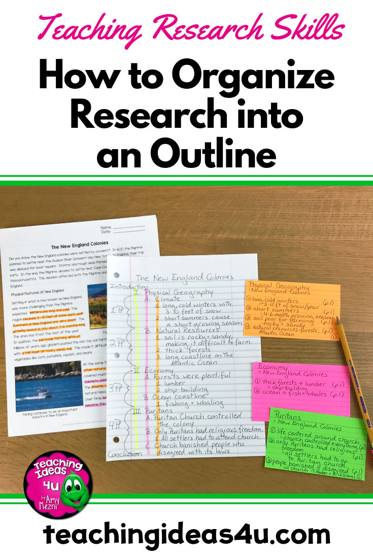 How To Organize A Research Paper Outline Teaching Resources And Lesson Plans Teaching Ideas 4u By Amy Mezni Research Paper Outline Research Outline Research Paper