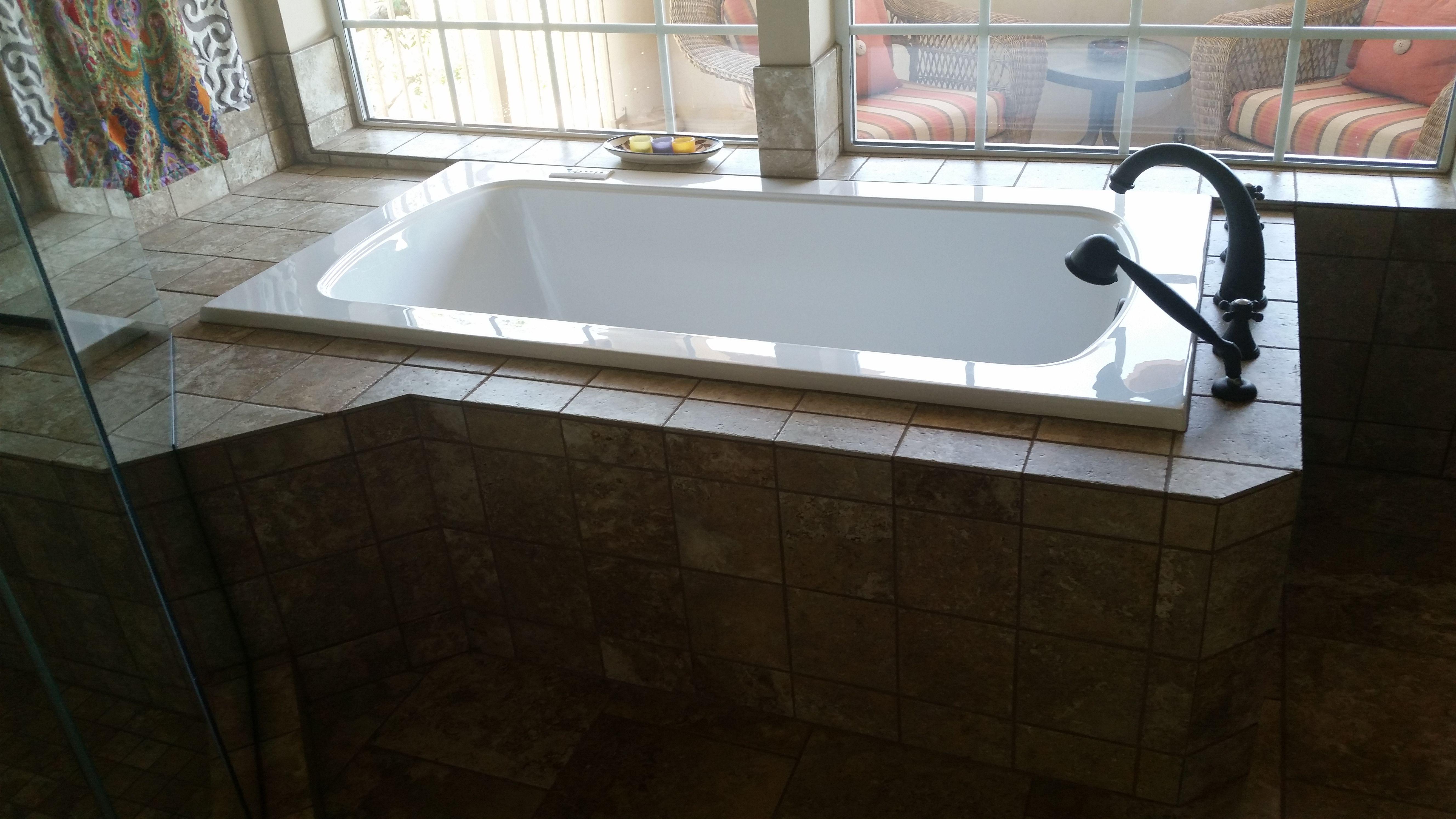 porcelain tile jacuzzi tub build out | Carpet & Tile Installations ...