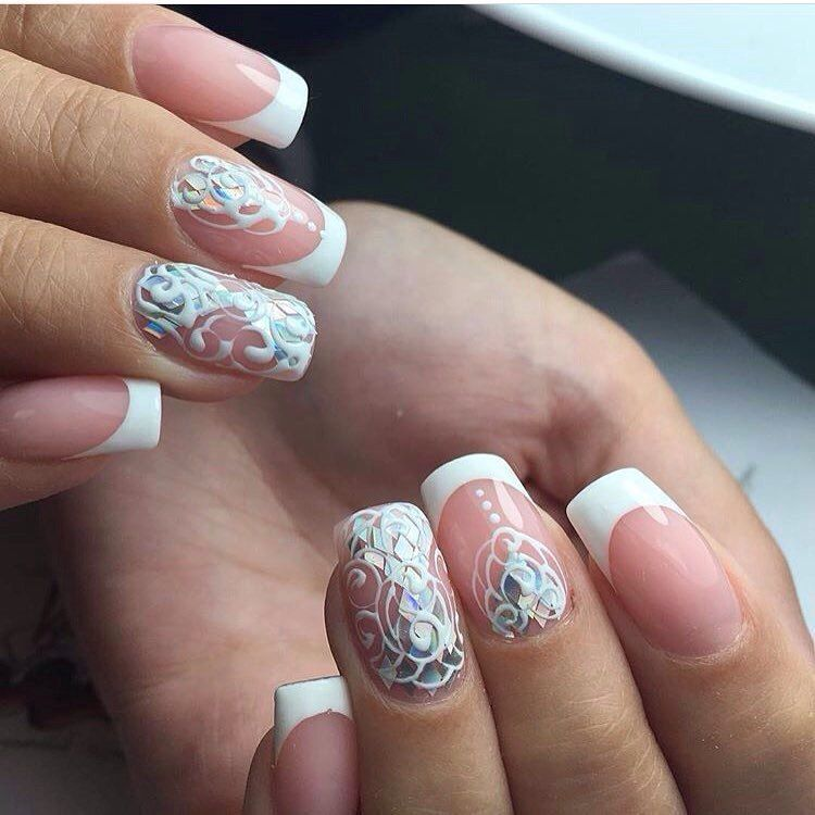 Beautiful wedding nails, Delicate wedding nails, Festive nails, Nails for wedding dress, Nails with rhinestones, Original wedding nails, Smart nails, Square nails