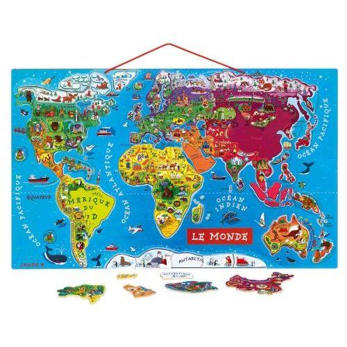 A accrocher dans une chambre... ou dans les toilettes! Trop facile d'apprendre la géographie ! Puzzle monde magnétique Janod pour enfant de 7 ans à 12 ans - Oxybul éveil et jeux