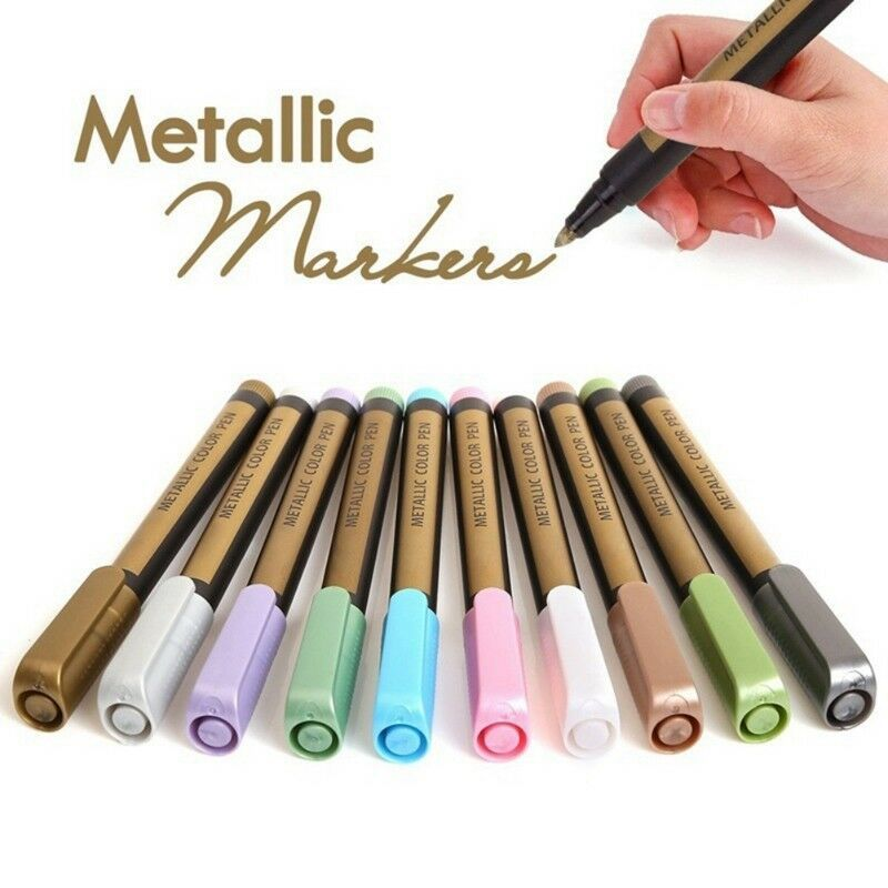 10 Colors Ceramic Painting Glass Plastic Photo Album Metallic Markers Pen Gifts Painting Glass Plastic Paint Marker Pen Pen Gift Paint Markers