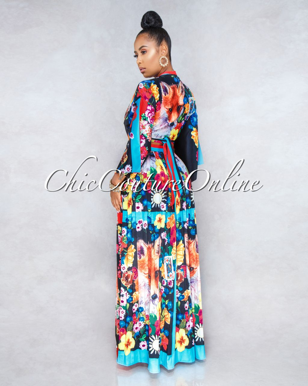850aabe45913 Chic Couture Online - Foxy Black Multi-Color Print Two Piece Pleated Skirt  Set