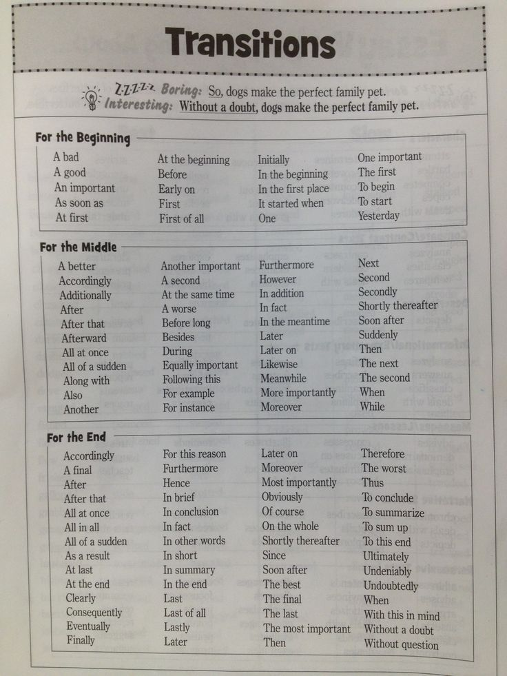 Transitional Words - Reference sheet for Writer\u0027s Notebook Writing