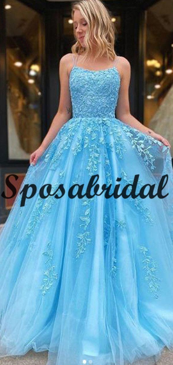 A-line Straps Blue Lace Long Popular Modest Prom Dresses PD2264