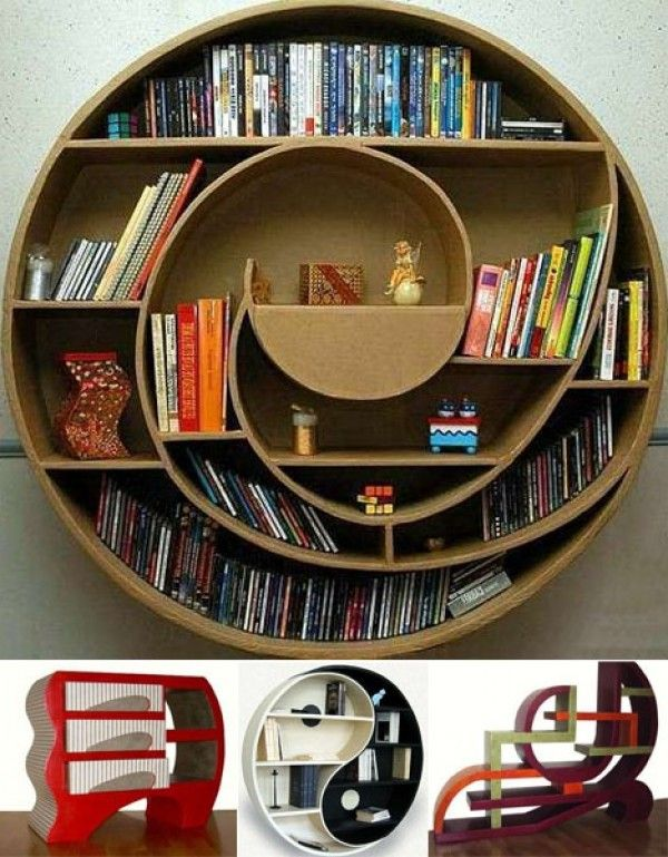 23 Hanging Wall Shelves Furniture Designs Ideas Plans: Round Strange Bookcase Designs