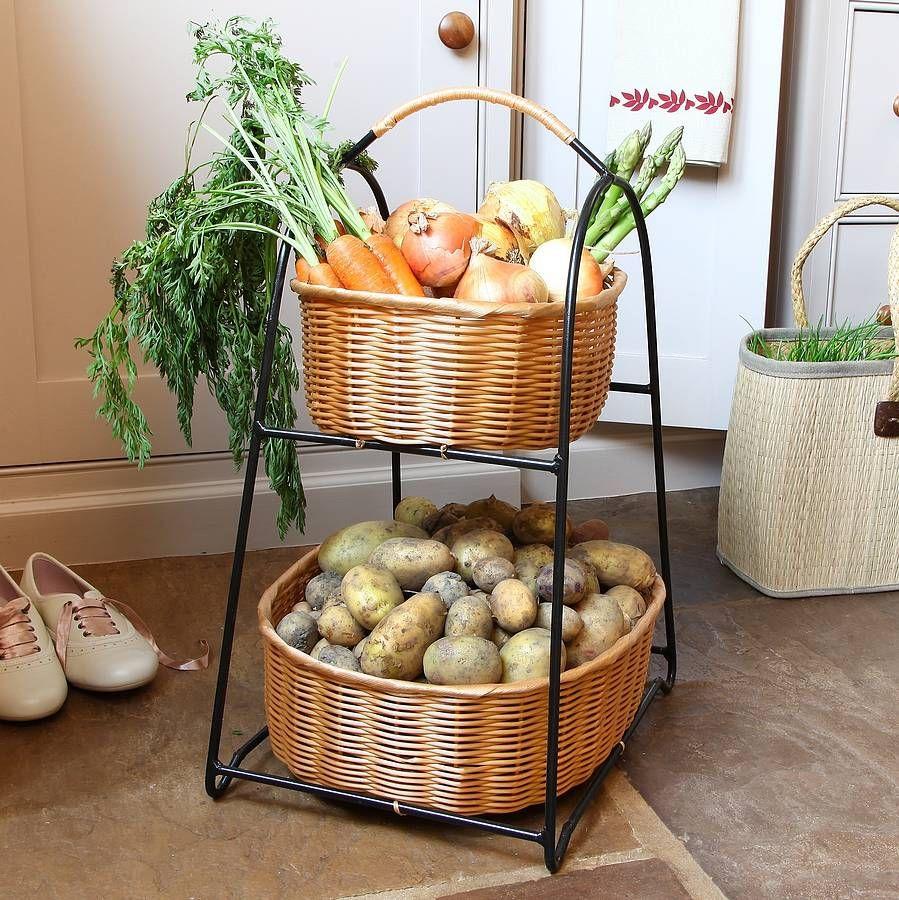 Country Cream Three Tier Fruit And Veg Store Repisas Mimbre Cocinas