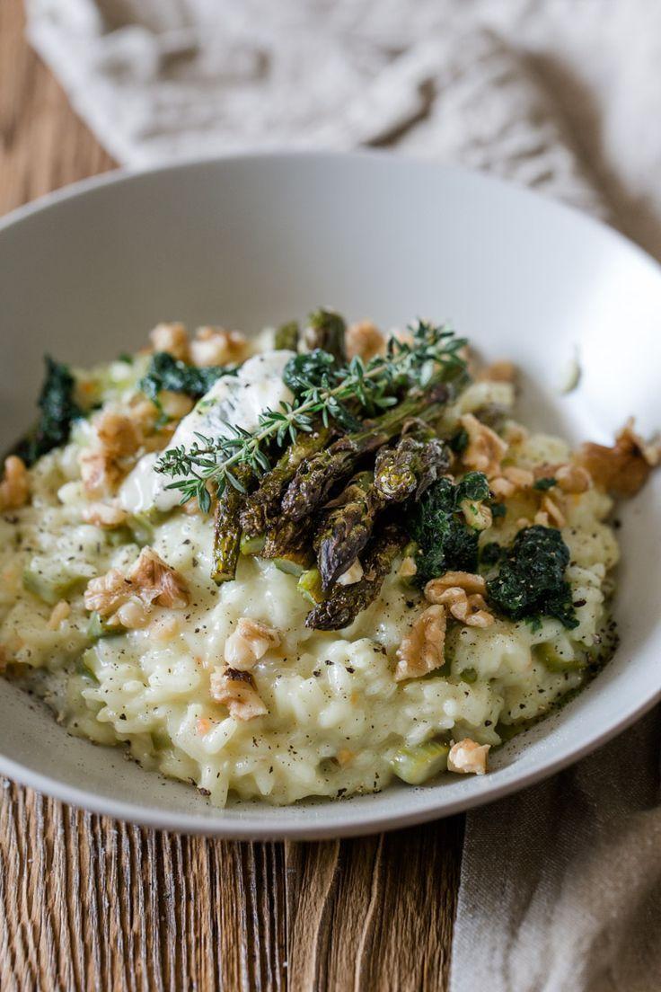 Spargelrisotto mit Bärlauch, Gorgonzola und Walnüssen