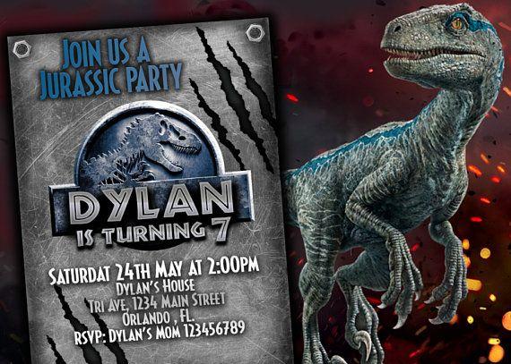 jurassic World 2 Invitation Birthday party Jurassic Park Party Blue party invitation for kids