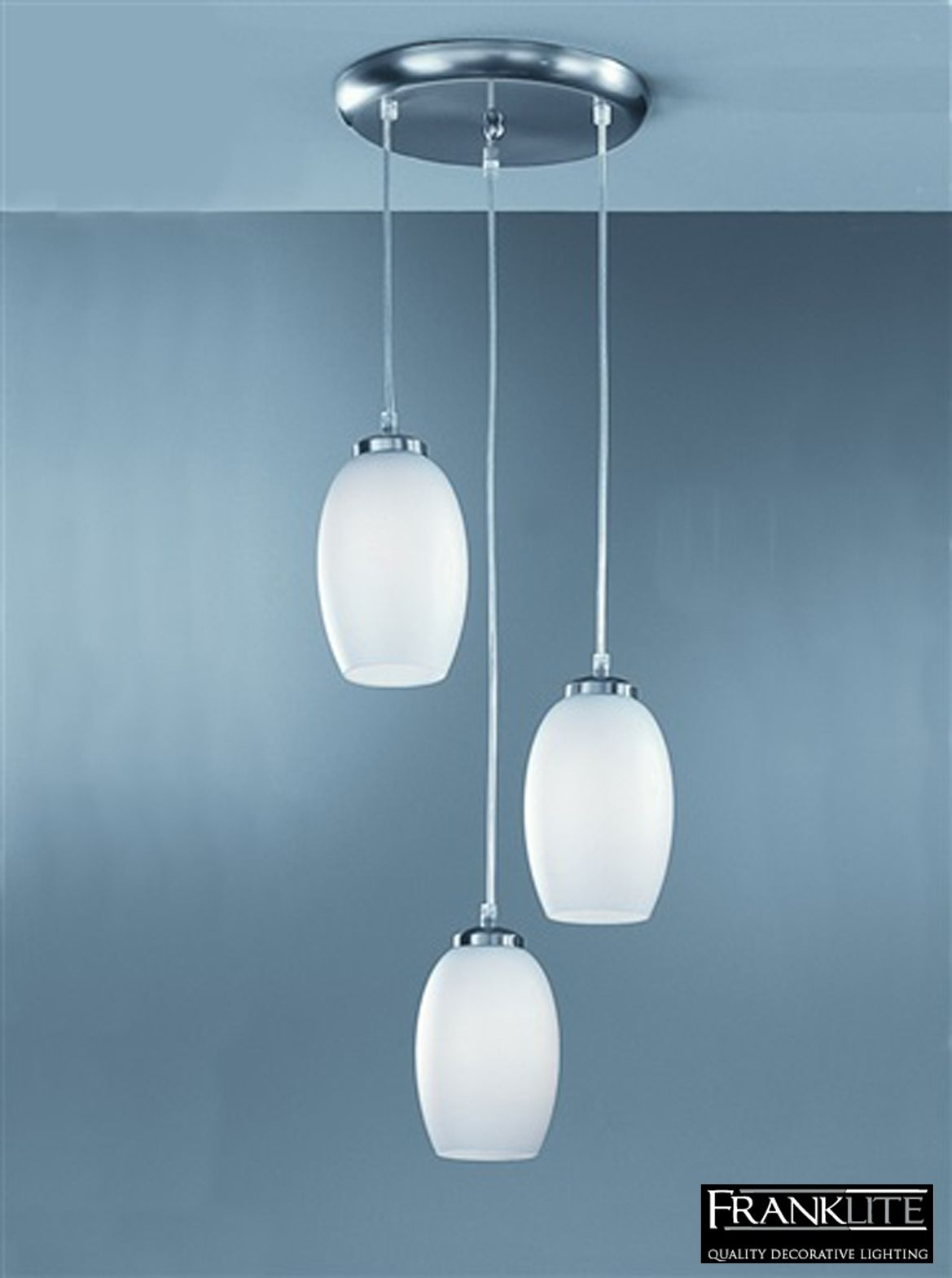 Franklite Matt Opal Glass & Satin Nickel, Ø 330mm 3 Light Pendant Ceiling Fitting - CO9573/448 None