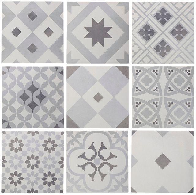 Idée décoration Salle de bain Carrelage sol et mur blanc et gris