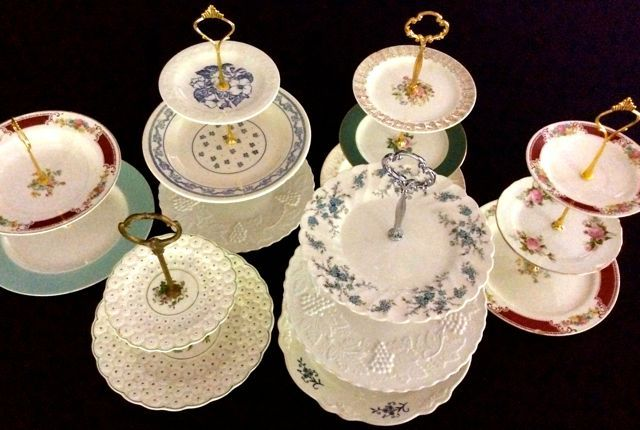 A bouquet of vintage tiered plate stands ready to hold yummy treats! - Southern Vintage & A bouquet of vintage tiered plate stands ready to hold yummy treats ...