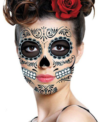 Black skeleton day of the dead temporary face for Halloween makeup tattoos