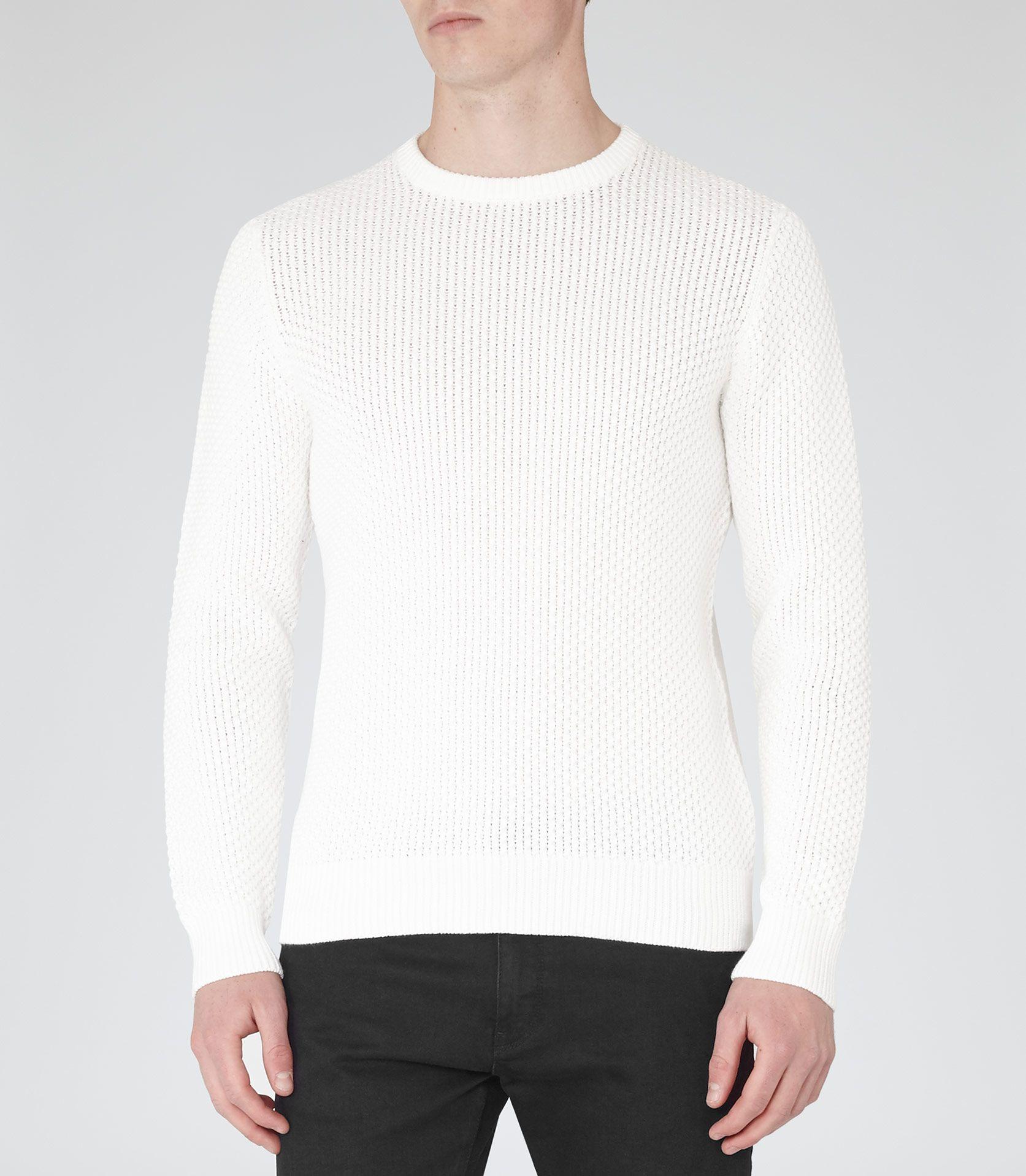 Mens Winter White Textural Weave Jumper - Reiss Rocket | Menswear ...