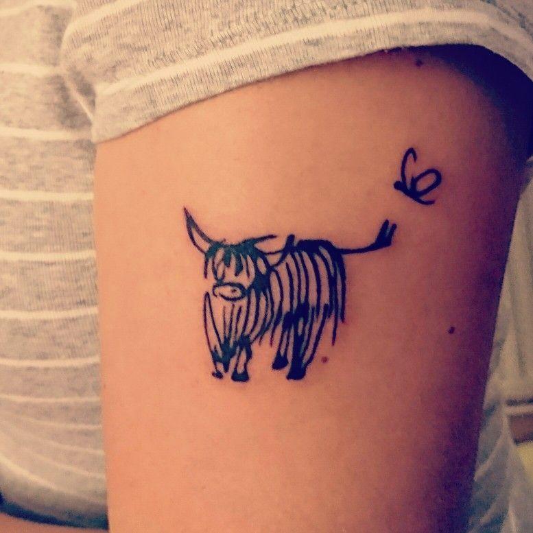 ecae6ba5cf6d0 My Highland Cow tattoo ❤   moos   Cow tattoo, Scottish tattoos ...