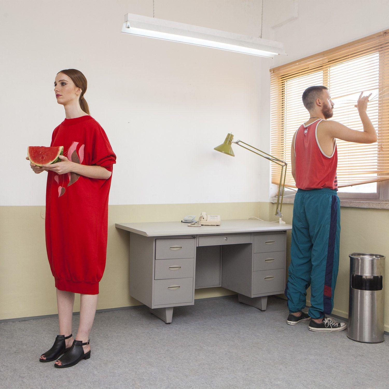 Vintage sweatshirt dress s red dress long sleeves slouchy