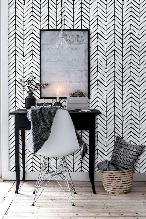 Black Chevron Wallpaper Peel and Stick Herringbone