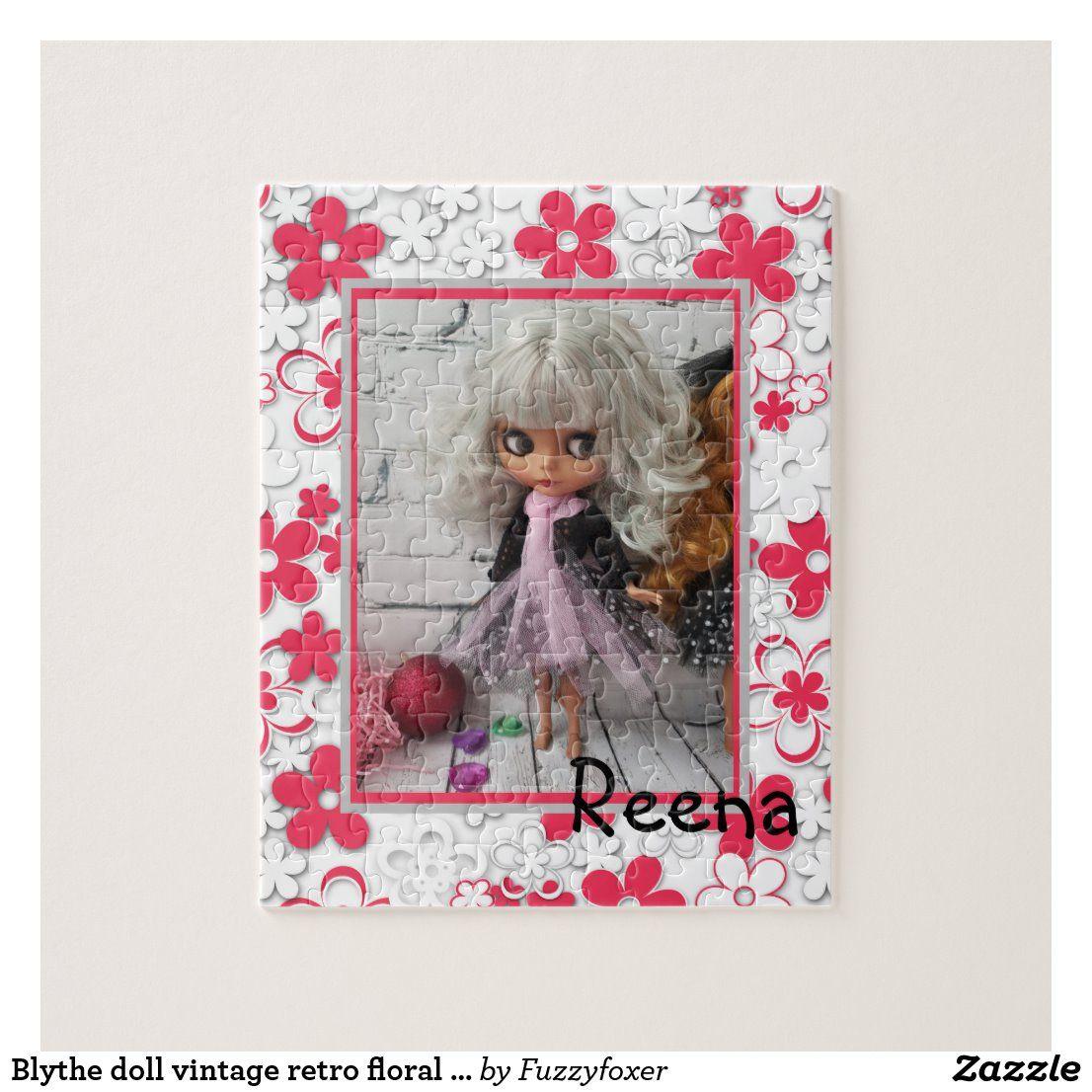 Blythe Doll Vintage Retro Floral Frame Oldish Desi Jigsaw