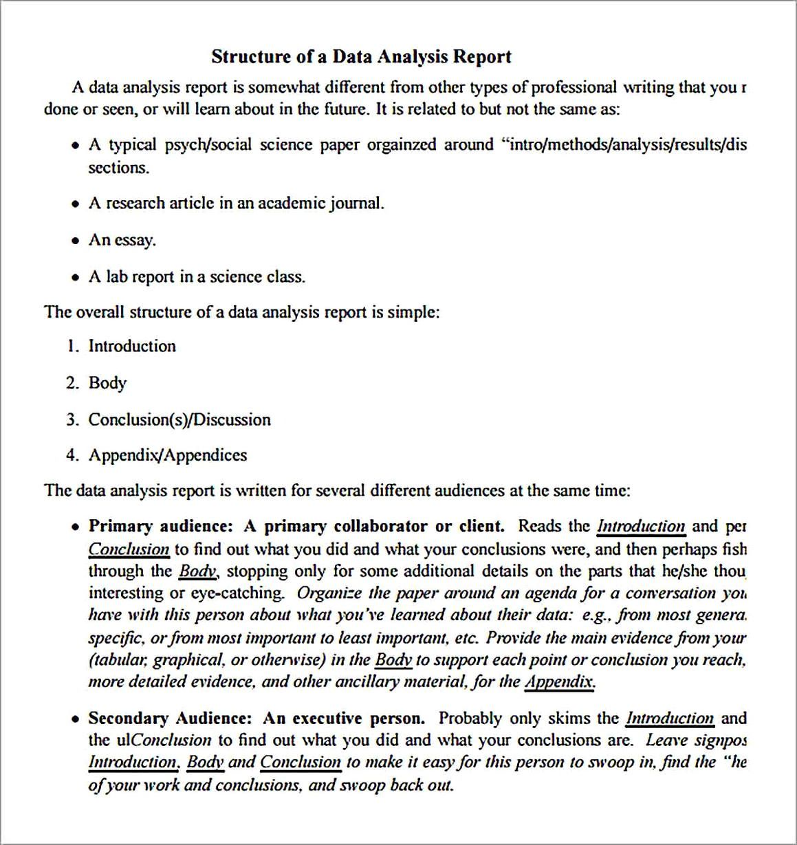 Data Analysis Report Sample Template Data Analysis Analysis Report Template