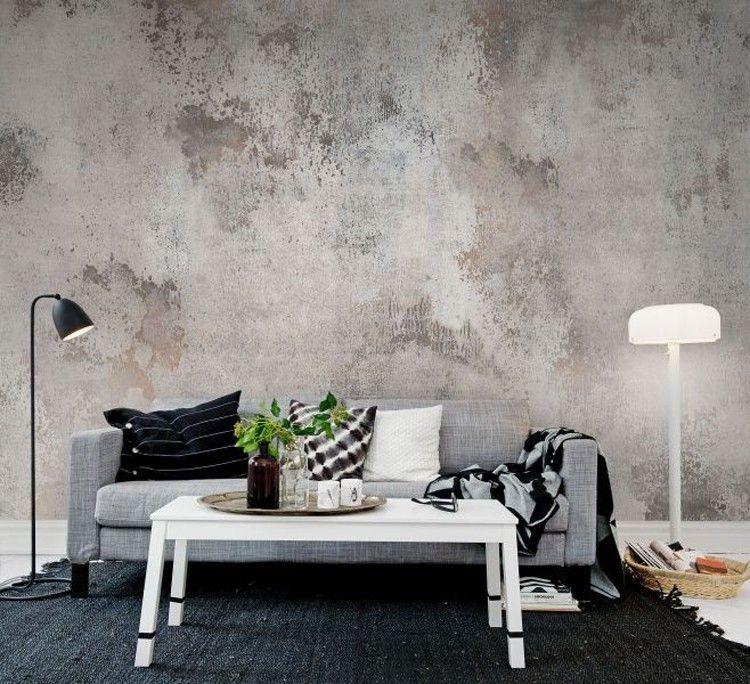 Pinterest Concrete Industrial Decor Inspiration Wallpaper Wallpaper Living Room Industrial Decor Inspiration Living Room Scandinavian #wall #coverings #ideas #living #room