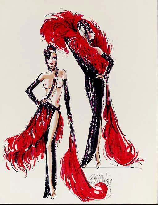 Bob Mackie Red Showgirl sketch
