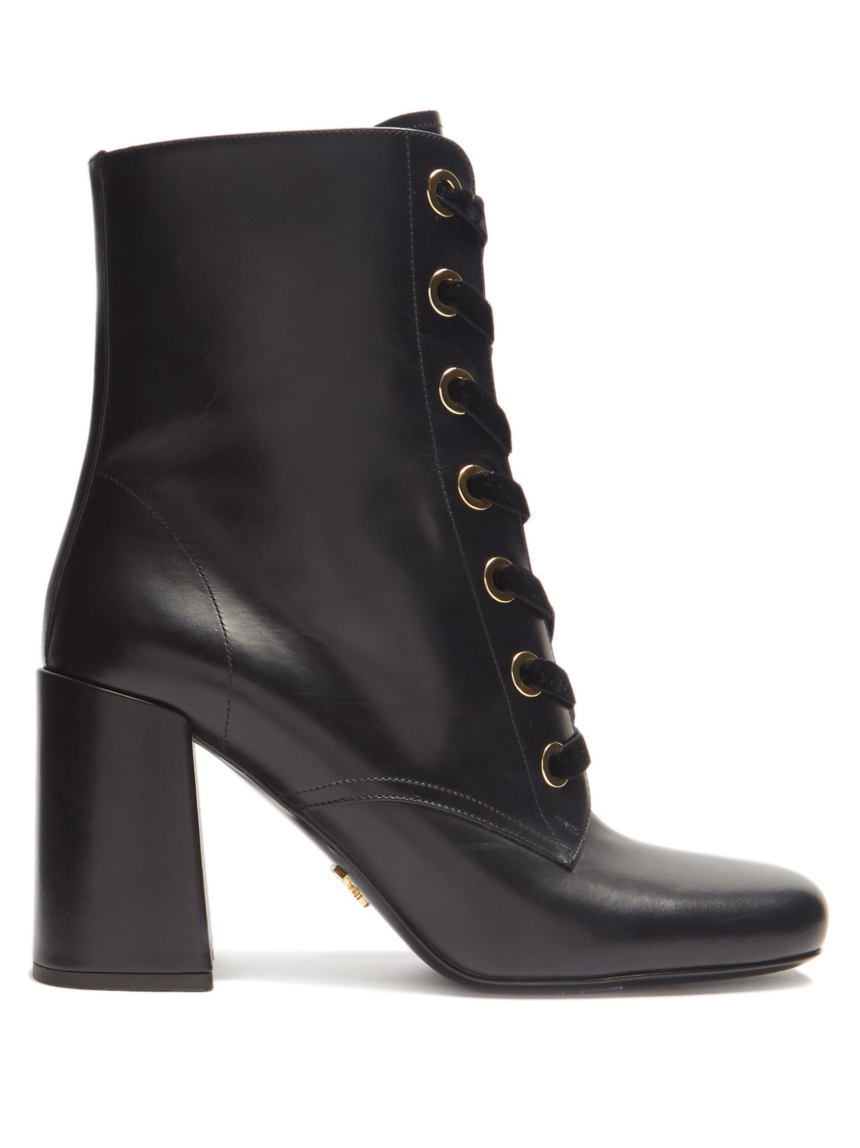 9af189fd957ae Velvet lace-up leather ankle boots