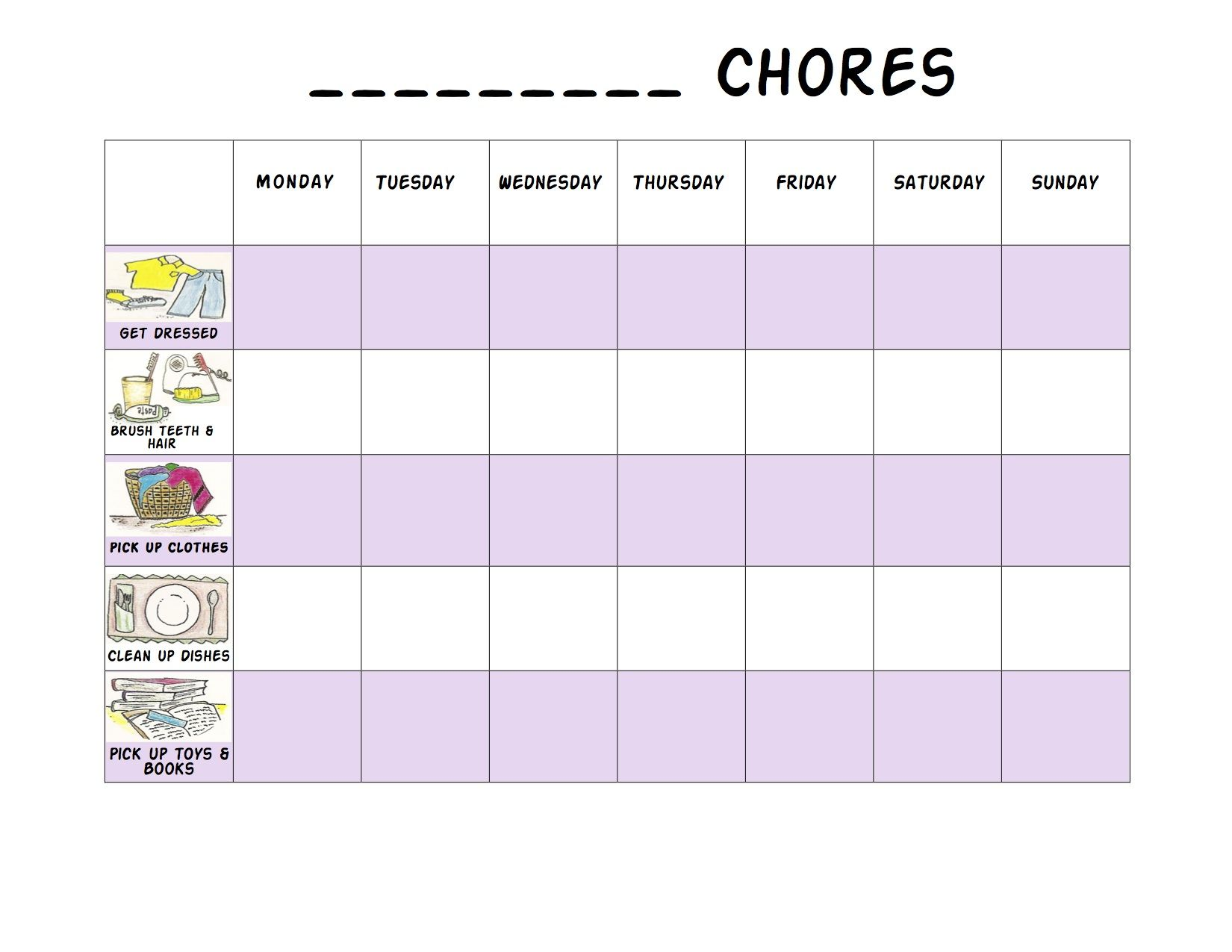Editable Chore Charts  Chore Chart  Cleaning Ideas