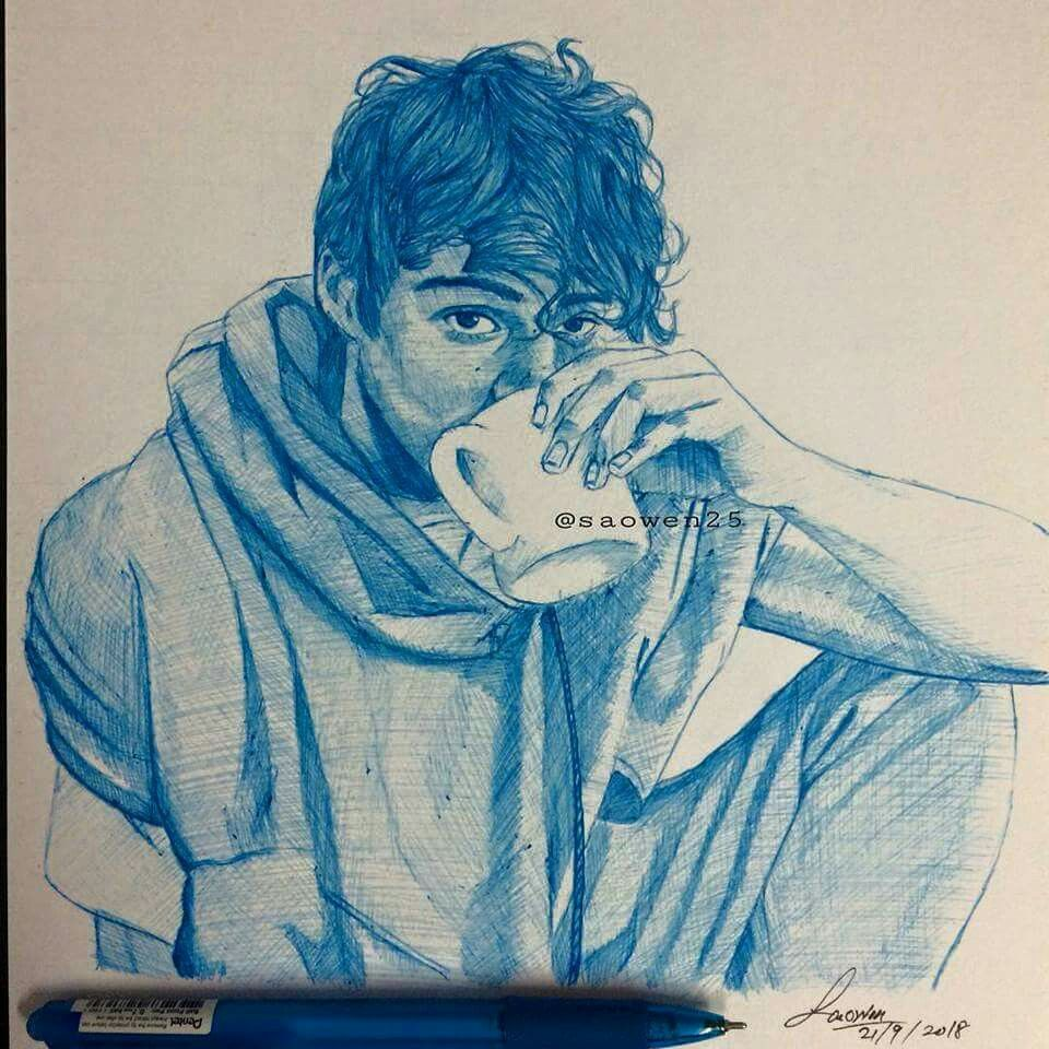 Noah centineo noahcentineo pendrawing bluepen cute couple drawings love drawings easy