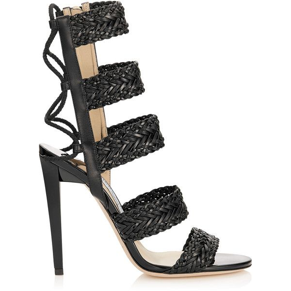 Black Nappa and Patent Leather Caged Sandals LIMA 110 (3.295 BRL) ❤ liked on Polyvore featuring shoes, sandals, jimmy choo, heels, patent sandals, patent leather sandals, black heeled shoes, black patent leather sandals and black patent sandals