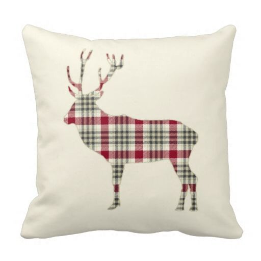 Swell Winter Tartan Plaid Deer Throw Pillow Zazzle Com Home Inzonedesignstudio Interior Chair Design Inzonedesignstudiocom