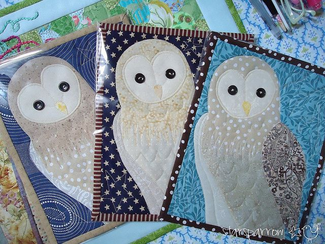Barn Owl Mini Quilt Trio -   24 fabric owl crafts