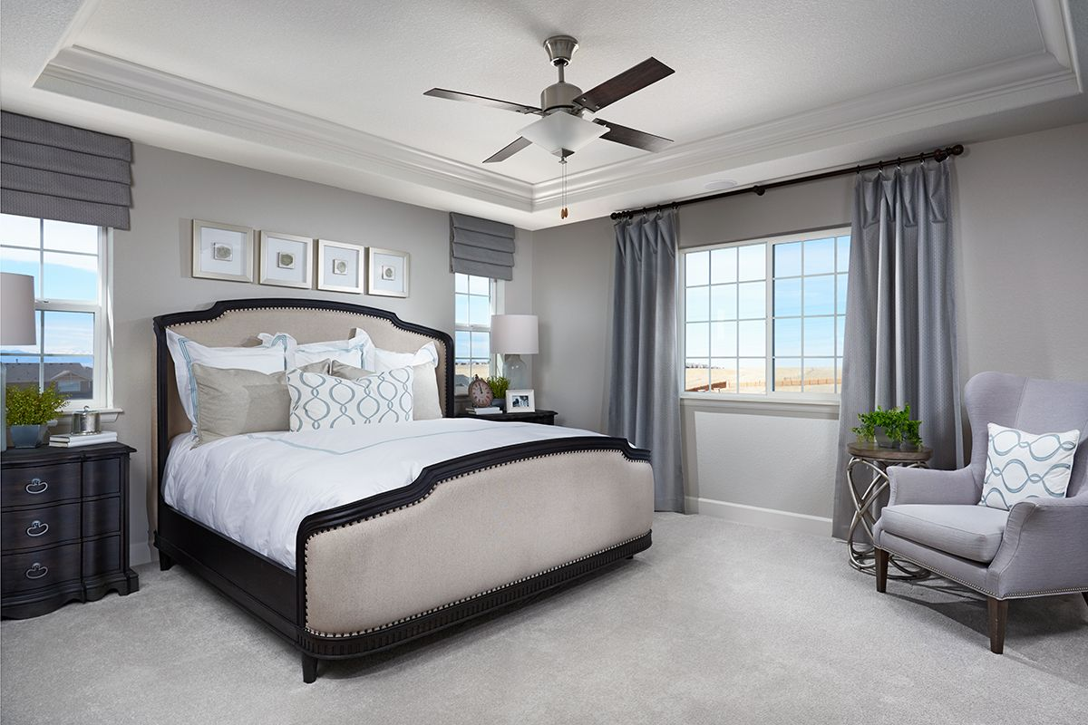 Relaxing Master Bedroom With Decorative Ceiling And Abundant