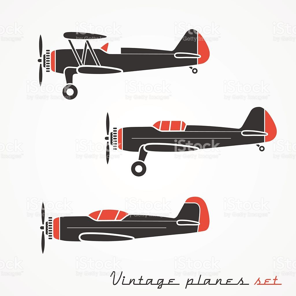 Set Of Three Retro Planes Gray Silhouettes On White Background Vintage Planes Free Vector Art Airplane Photography