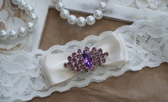 Wedding Garter, Bridal Garter, Vintage Wedding, Ivory Lace Garter, Crystal Garter, Purple Garter